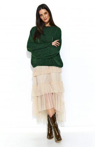 Sweter oversize z wełną butelkowa zieleń