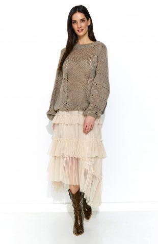 Sweter oversize z wełną beżowy