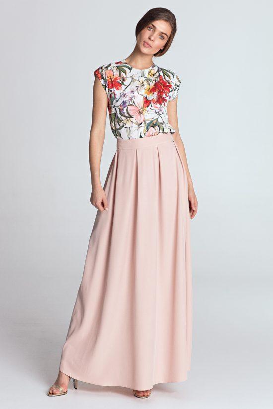Spódnica maxi elegancka różowa
