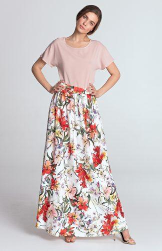 Spódnica maxi elegancka w kwiatki