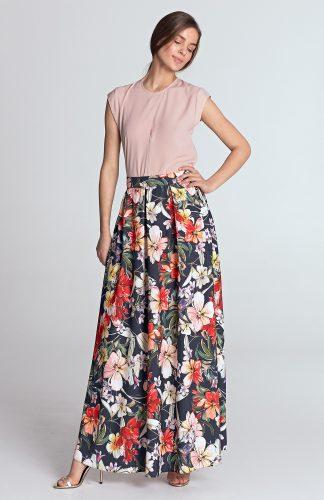 Spódnica maxi elegancka w kwiaty