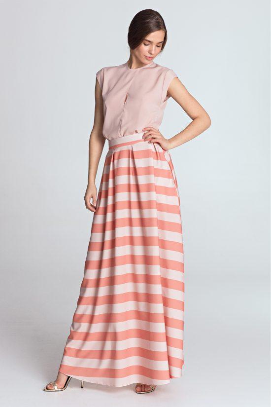 Spódnica maxi elegancka w paski pomarańcz