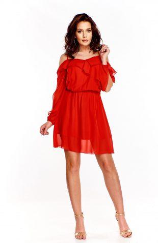 Sukienka z odkrytymi ramionami i z falbanką czerwona