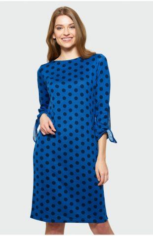 Sukienka midi w kropki niebieska