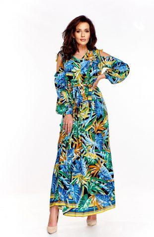 Sukienka do kostek z wyciętymi ramionami