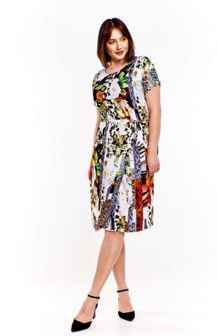 Sukienka midi z paskiem we wzory