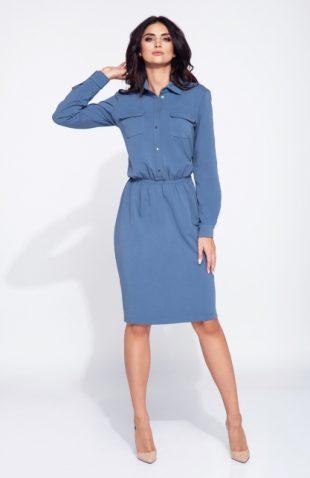 Sukienka koszulowa z gumką w pasie niebieska