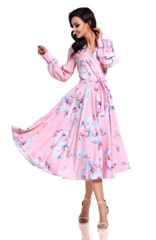 Sukienka kopertowa midi we wzory