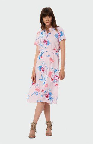 Sukienka midi w kwiaty różowa