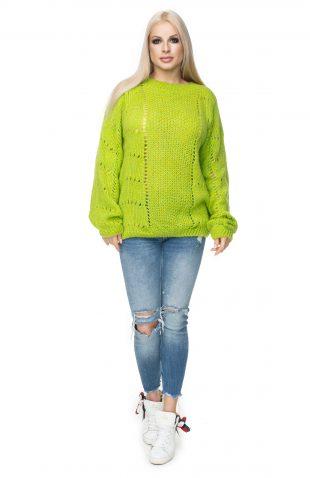 Sweter oversize ażurowy limonka