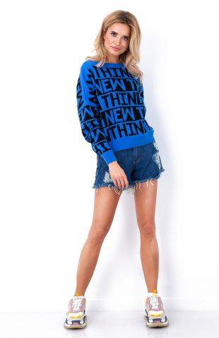 Krótki sweter neonowy z napisami