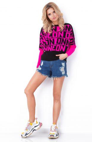 Sweter neonowy z napisami