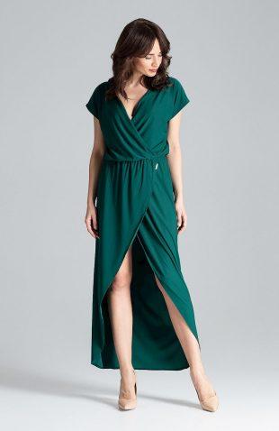 Sukienka kopertowa maxi zielona