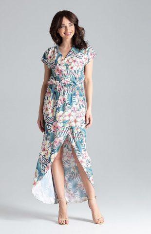 Sukienka kopertowa maxi w kwiaty
