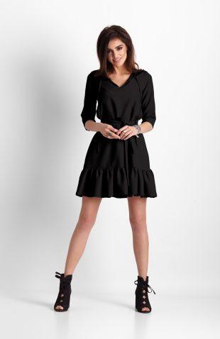 Sukienka trapezowa z falbaną czarna