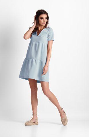 Sukienka trapezowa z falbanami błękitna