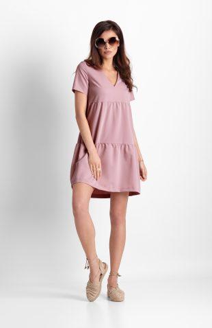 Sukienka trapezowa z falbanami różowa