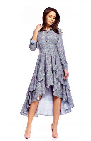 Sukienka wizytowa midi z falbanami w kratę