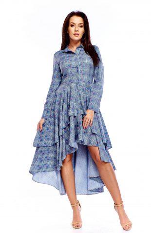Sukienka wizytowa midi w kratę