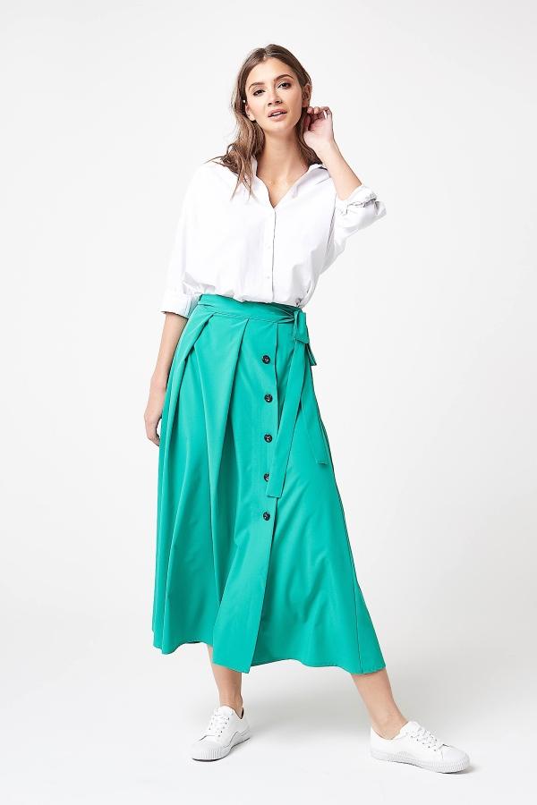 04c383ff37c302 Długa elegancka spódnica zielona - szyta w Polsce - kurier od 5,99 zł