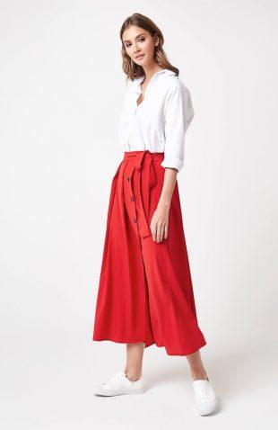 Długa elegancka spódnica czerwona