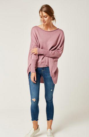Sweter oversize z dłuższym tyłem wrzosowy