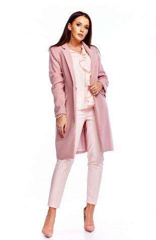 Klasyczny płaszcz zapinany na guzik różowy