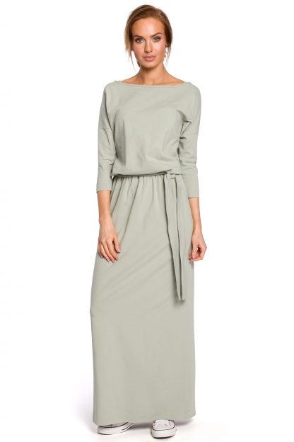 Sukienka bawełniana do kostek pistacja