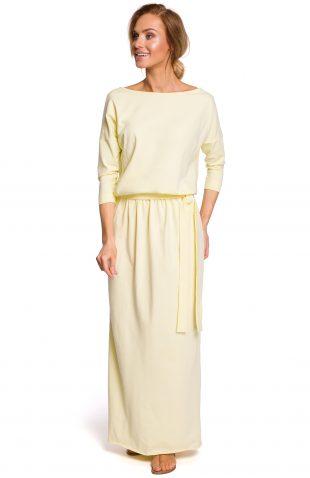 Sukienka bawełniana do kostek żółta