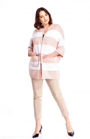 Elegancki sweter w pasy z kieszeniami