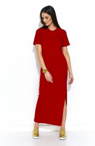 Sukienka dresowa do kostek czerwona