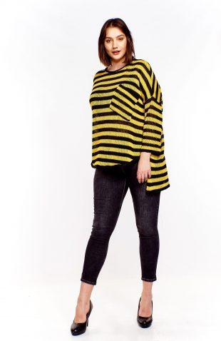 Sweter oversize asymetryczny w paski