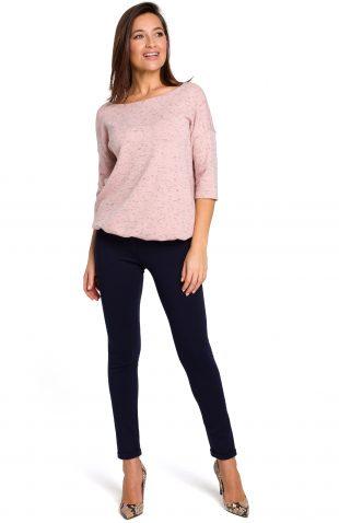 Sweter z dekoltem na plecach różowy