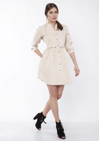 Sukienka mini koszulowa na guziki beżowa
