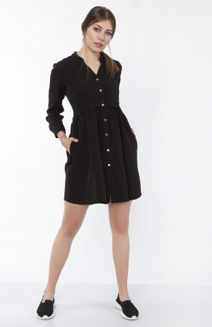 Sukienka koszulowa na guziki czarna