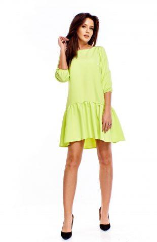Sukienka z falbaną u dołu limonka