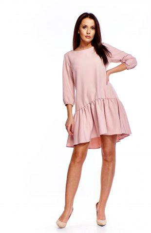 Sukienka z falbaną u dołu różowa