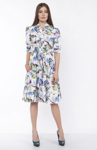 Sukienka koszulowa midi we wzory
