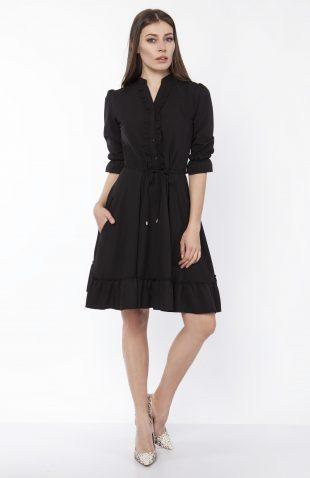 Sukienka koszulowa midi czarna