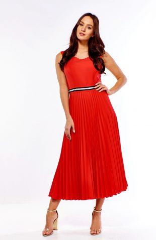 Plisowana sukienka wizytowa czerwona