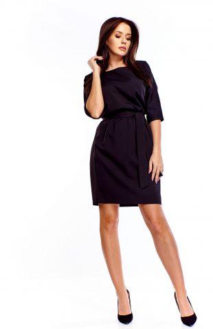 Sukienka do pracy z paskiem czarna