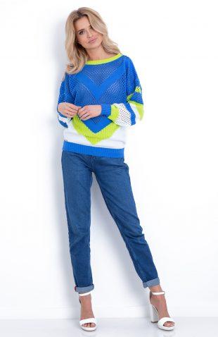 Sweter neonowy ażurowy