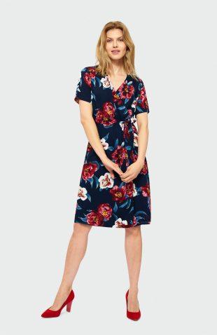 Sukienka kopertowa w kwiaty granat