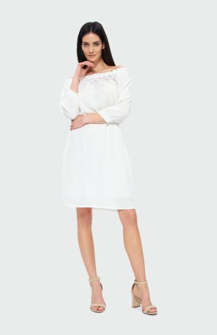 Sukienka rozkloszowana z koronką biała