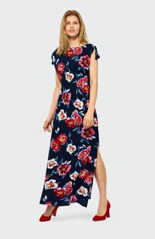 Sukienka do kostek w kwiaty granat