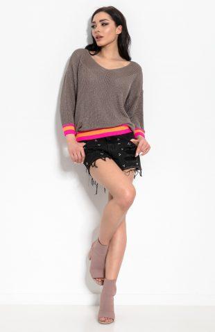 Sweter w serek szerokie rękawy