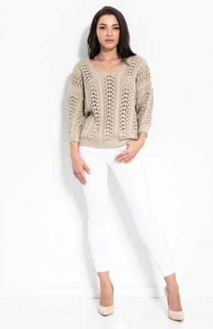 Sweter ażurowy w serek