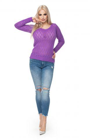 Sweter ażurowy dopasowany fioletowy