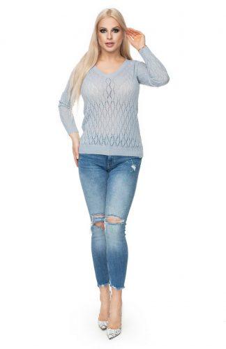 Sweter ażurowy dopasowany szary