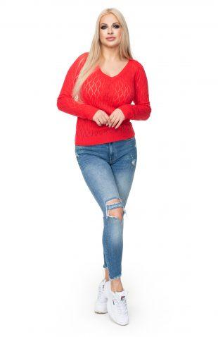 Sweter ażurowy dopasowany czerwony